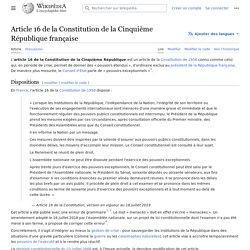 Article 16 de la Constitution de la Cinquième République française