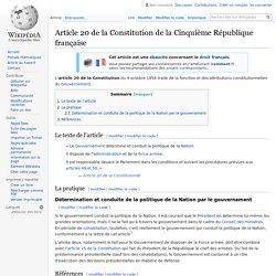 Article 20 de la Constitution de la Cinquième République française