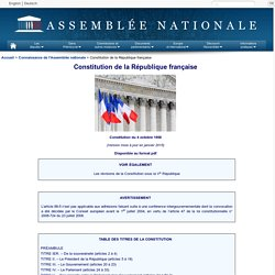Constitution de la République française - Assemblée nationale