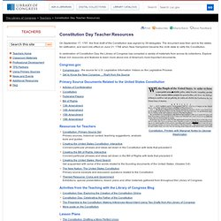 Constitution Day Teacher Resources