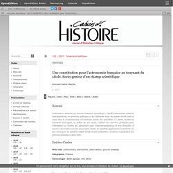 Une constitution pour l'astronomie française au tournant du siècle. Socio-genèse d'un champ scientifique