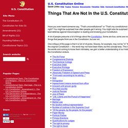Things That Are Not In the U.S. Constitution