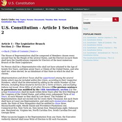 U.S. Constitution - Article 1 Section 2 - The U.S. Constitution Online - USConstitution.net