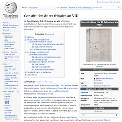 Constitution 22 frimaire an VIII 13/12/1799
