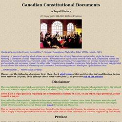 Canadian Constitutional Documents