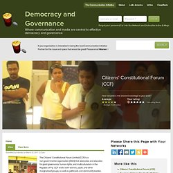 Citizens' Constitutional Forum (CCF) | Democracy and Governance
