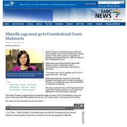 SABC News - Nkandla saga must go to Constitutional Court: Madonsela:Monday 1 June 2015