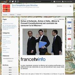 Echec à Hollande...Echec à Valls...Même le Conseil Constitutionnel est contraint de censurer la loi Macron ! - Ça n'empêche pas Nicolas