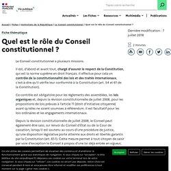 Quel est le rôle du Conseil constitutionnel ?