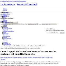 Cour d'appel de la Saskatchewan: la taxe sur le carbone est constitutionnelle