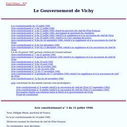 Actes constitutionnels du Gouvernement de Vichy, 1940-1944, France, MJP, université de Perpignan