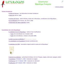 Constitutions de la République française : documents en ligne LEXILOGOS