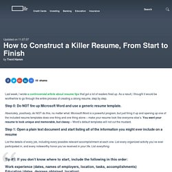 How to Construct a Killer Resume, From Start to Finish
