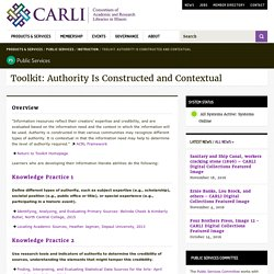 Toolkit: Authority Is Constructed and Contextual