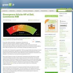Constructeur › Greenpeace félicite HP et Dell, sanctionne RIM