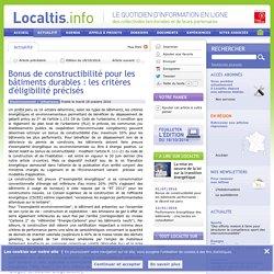 Bonus de constructibilité pour les bâtiments durables : les critères d'éligibilité précisés - 18/10/16