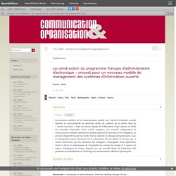 La construction du programme français d'administration électronique: creuset pour un nouveau modèle de management des systèmes d'information ouverts