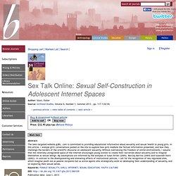 Berghahn Journals Sex Talk Online: <i>Sexual Self-Construction in Adolescent Intern...