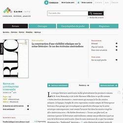 La construction d'une visibilité ethnique sur la scène littéraire: le cas des écrivains amérindiens