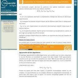 L'opérateur hamiltonien-La construction de l'Hamiltonien moléculaire et les approximations