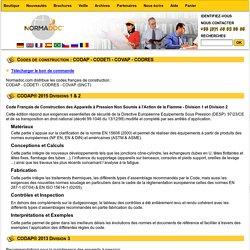 Codes de construction : CODAP - CODETI - COVAP - CODRES
