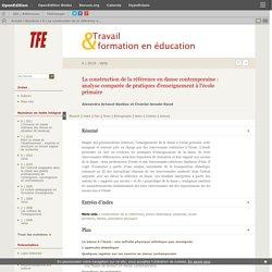 La construction de la référence en danse contemporaine : analyse comparée de pratiques d'enseignement à l'école primaire