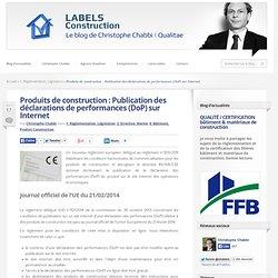 Produits de construction : Publication des déclarations de performances sur Internet