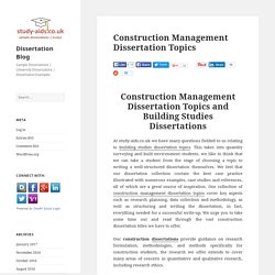 Award Winning Construction Management Dissertation Topics
