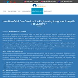 How Beneficial Can Construction Engineering Assignment Help Be For Students?