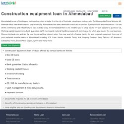 Get Construction Equipment Loan in Ahmedabad