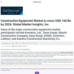 Construction Equipment Market to cross USD 160 Bn by 2026: Global Market Insights, Inc.