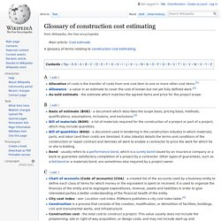 Glossary of construction cost estimating - Wikipedia