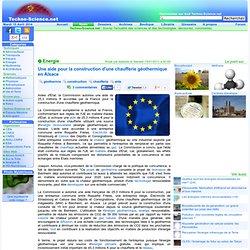 Une aide pour la construction d'une chaufferie géothermique en Alsace