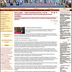Alain Juppé : «Notre troisième priorité, c'est de travailler à la construction d'une nouvelle gouvernance mondiale»