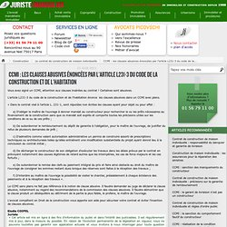 CCMI : les clauses abusives énoncées par l'article L231-3 du code de la construction et de l'habitation