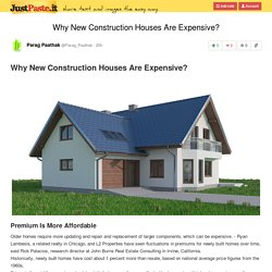 Why New Construction Houses Are Expensive?