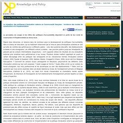 La réception des politiques d'évaluation externe en Communauté française : incidence des modes de construction et d'implémentation - Know&Pol : Knowledge and policy