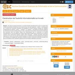 Construction de l'autorité informationnelle sur le web