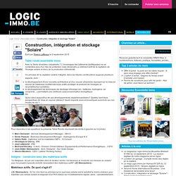 """Construction, intégration et stockage """"Solaire"""""""