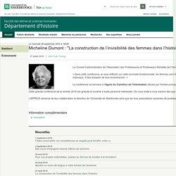 """Micheline Dumont : """"La construction de l'invisibilité des femmes dans ... - Département d'histoire"""