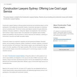 Construction Lawyers Sydney: Offering Low Cost Legal Service