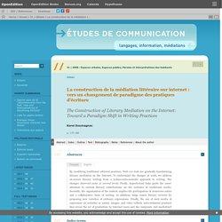 La construction de la médiation littéraire sur internet: vers un changement de paradigme des pratiques d'écriture