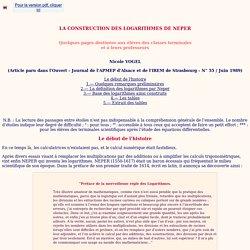 LA CONSTRUCTION DES LOGARITHMES DE NEPER