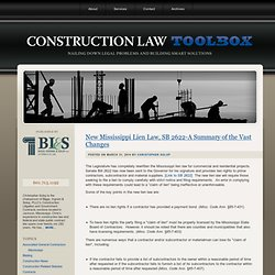 Construction Law Toolbox : Mississippi Construction Lawyer & Attorney : Biggs, Ingram, Solop & Carlson, PLLC : MS & Southeast Construction Law Toolbox