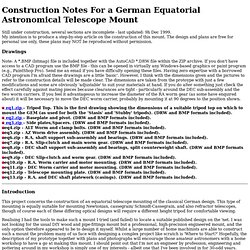 nstruction Notes For equatorial mount
