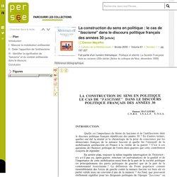 """La construction du sens en politique : le cas de """"fascisme"""" dans le discours politique français des années 30"""