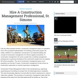 Hire A Construction Management Professional, St. Simons