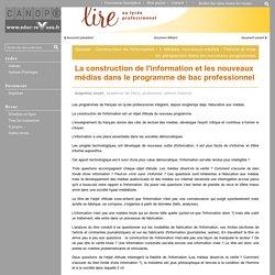 La construction de l'information et les nouveaux médias dans le programme de bac professionnel