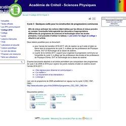 Académie de Créteil - Sciences Physiques - Cycle 3 : Quelques outils pour la construction de progressions communes