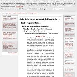 Code de la construction et de l'habitation - Partie réglementaire